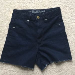Very high waisted denim stretch shorts
